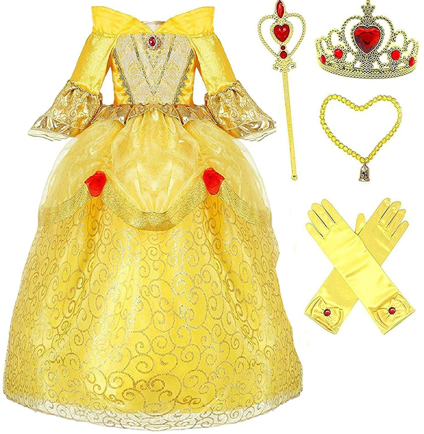 Princess Belle Deluxe Yellow Party Dress Costume (3-4, Style 3)