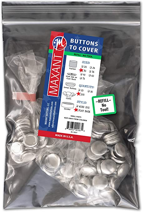 100 Buttons to Cover - Made in USA -Cover Buttons with Flat Backs Size 30 (3/4