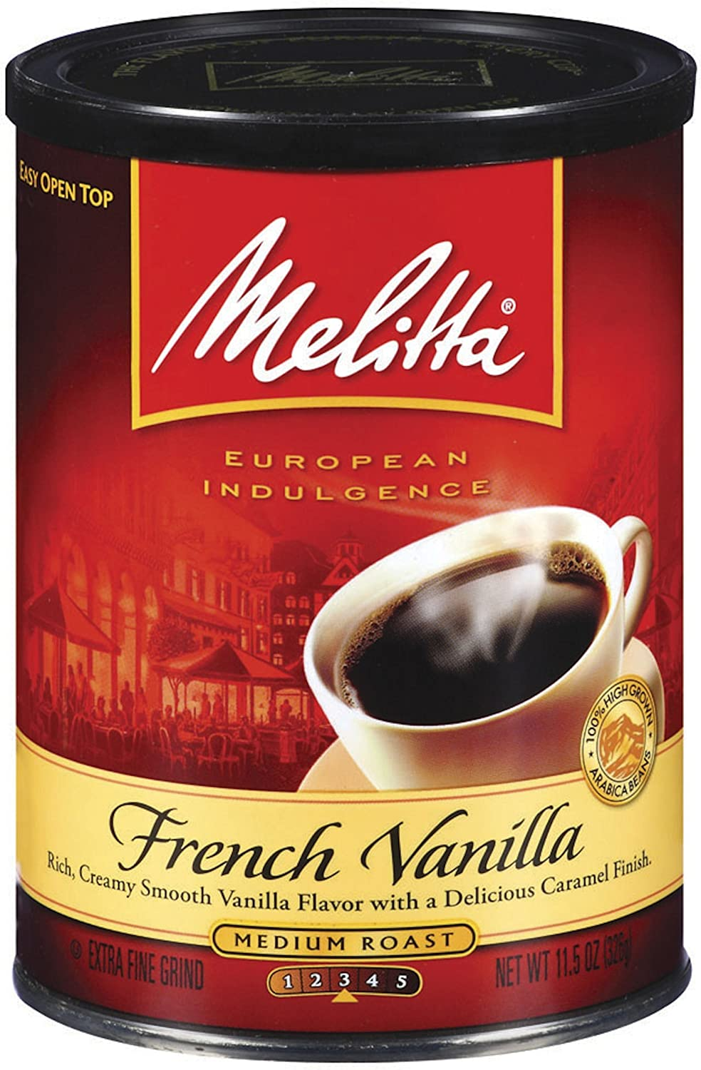 Melitta French Vanilla Medium Roast Ground Coffee, 11.5-Ounce Cans (Pack of 4)