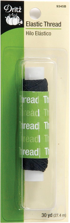 Dritz 9345B Elastic Sewing Thread, Black, 30-Yard 9345-B