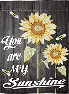 "pingpi You are My Sunshine Quote on a Wood with Bees and Yellow Sunflowers Garden Flag Double Sided Spring Summer Yard Outdoor Decorative 12.5""x18"""