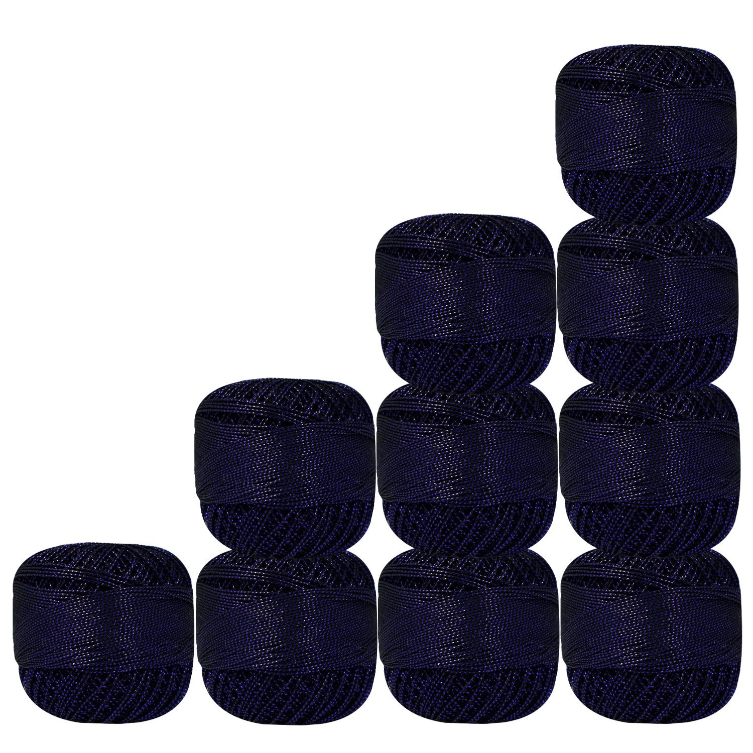 Bunch of 10 Pcs Black with Metallic Blue Cotton Crochet Thread for Cross Stitch Knitting Tatting Doilies Skeins Lacey Craft Yarn