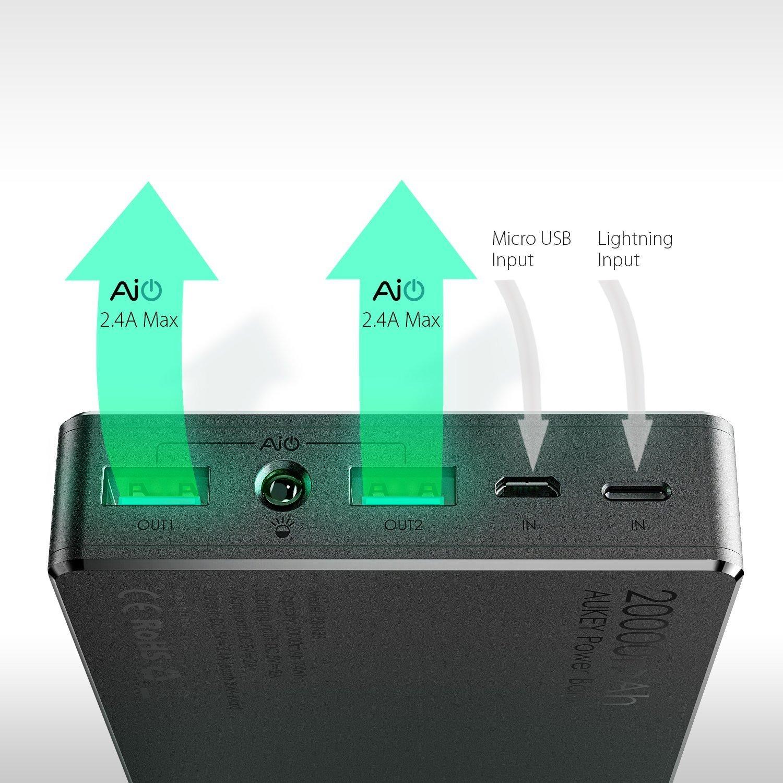 Oferta Batería Externa AUKEY 20.000 mA por 18,99 euros (Cupón Descuento) 1 batería externa AUKEY