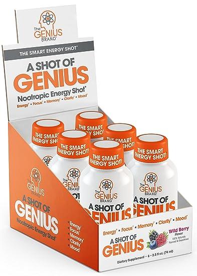 Amazon Com Shot Of Genius Nootropic Energy Shots The Smart