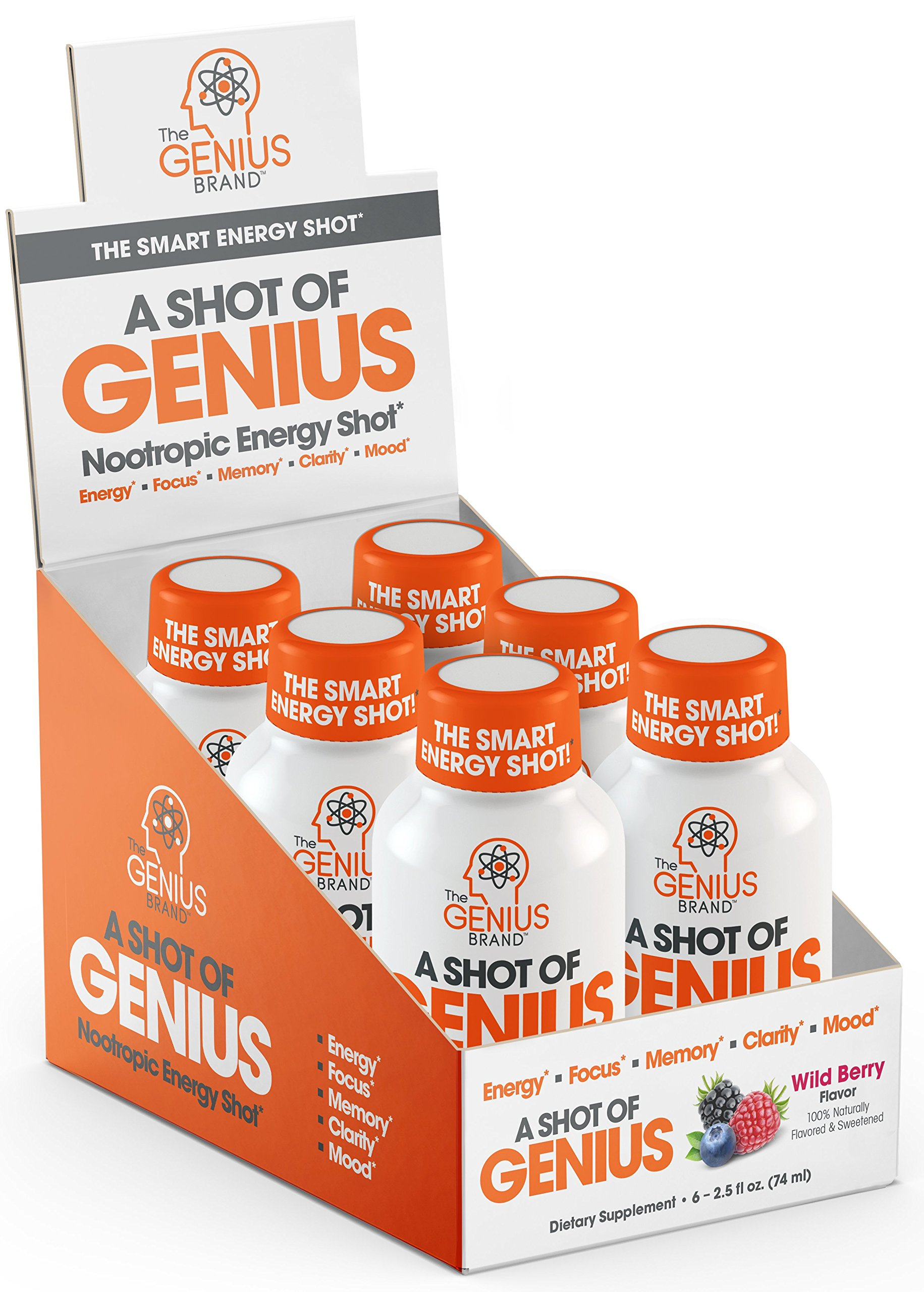 Amazon Com Shot Of Genius Nootropic Energy Shots The Smart