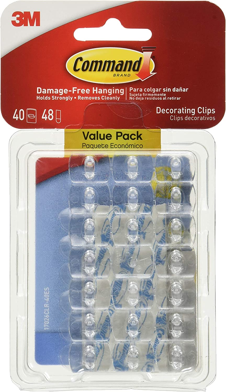 Command 17026CLR-VP Decorating Clips, 40, Clear, Count