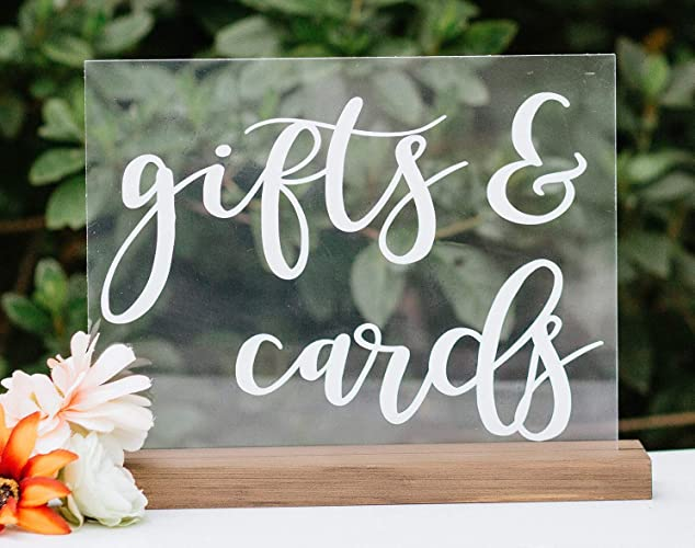 Amazon.com: Gifts and Cards Acrylic Rustic Modern Wedding Sign Personalized for Display With Included Wood Base: Handmade