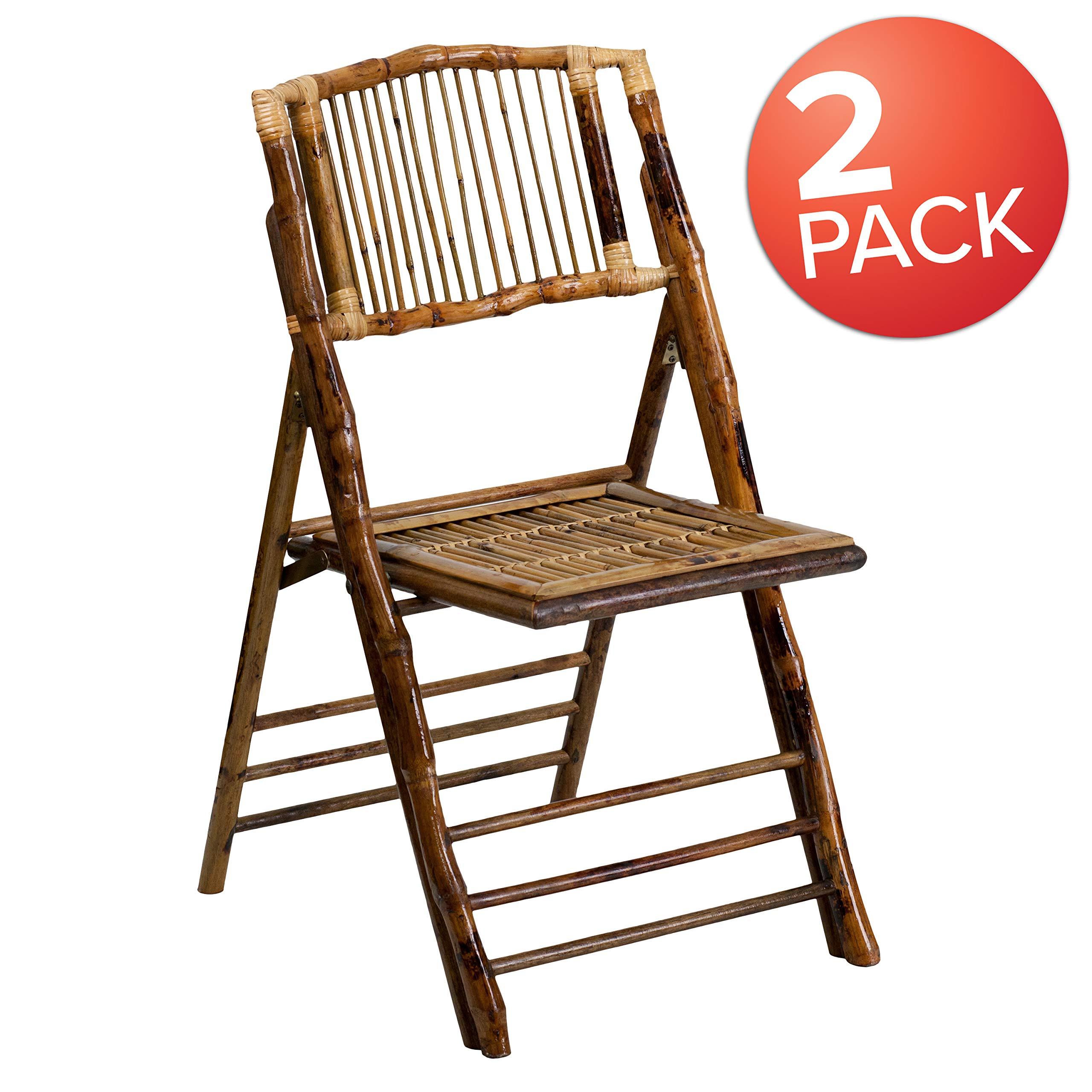 Flash Furniture Bamboo Folding Chairs |Set of 2 Bamboo Wood Folding Chairs by Flash Furniture