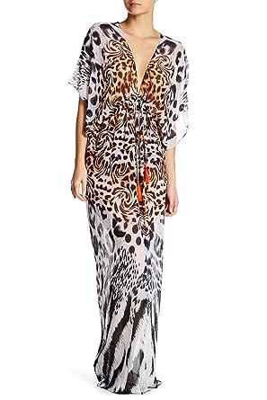 db24ca36f0 La Moda Clothing Animal Printed Sheer V-Neck Long Kaftan-Style Robe ...