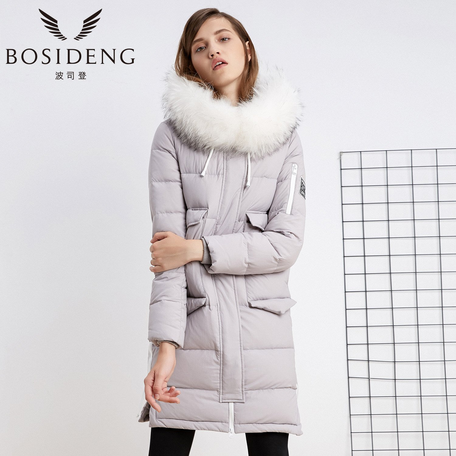 2fd907fec Amazon.com: BOSIDENG Women's Winter Down Jacket Real Fur Hooded ...