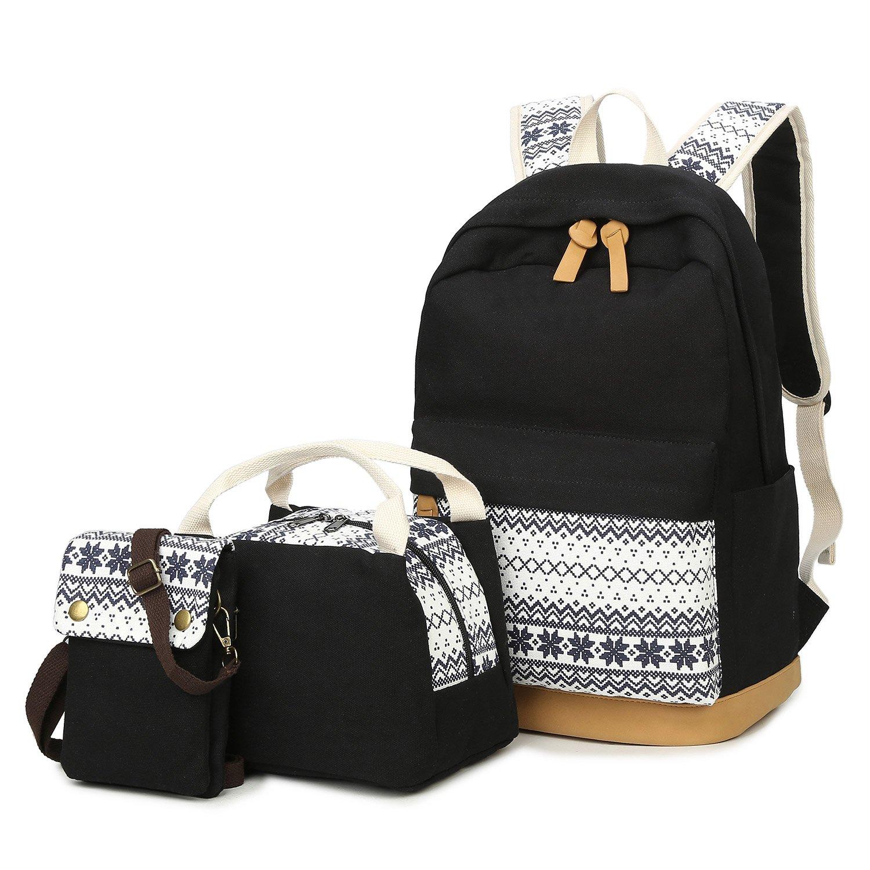 9b7100e6eaf Amazon.com | School Backpacks for Teen Girls Lightweight Canvas Backpack  Bookbags Set | Kids' Backpacks