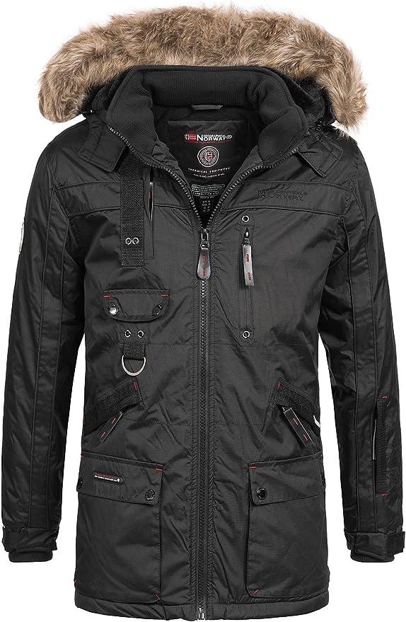 TALLA XL. Geographical Norway Chirac - Parka de invierno para hombre, capucha de piel extraíble