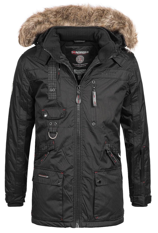 Geographical Norway Chirac - Parka de invierno para hombre, capucha de piel extraíble