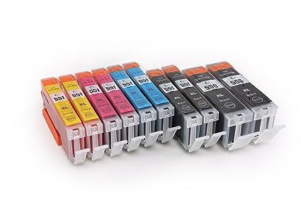10x Cartuchos de Tinta para CANON PGI-550 CLI-551 | 2x PGI-550BK & 2x CLI-551C/M/Y | para CANON Pixma iX6850 / iP7250 / iP8750 / MG5450 / MG5550 / ...
