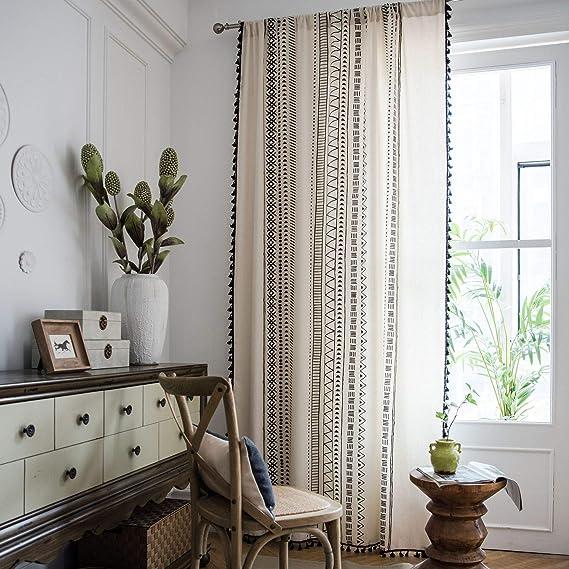 Sucses 1 Panel Bohemian Curtains With Tassel Cotton Linen Farmhouse Boho Chic Window Treatment Drapes 59 X 63 Amazon Ca Home Kitchen