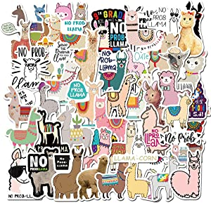 Water Bottle Cute Alpaca Stickers 50pcs Lovely Llama Boy and Girl Stickers Laptop Water Bottle Luggage Snowboard Bicycle Skateboard Decal for Kids Teens Waterproof Stickers