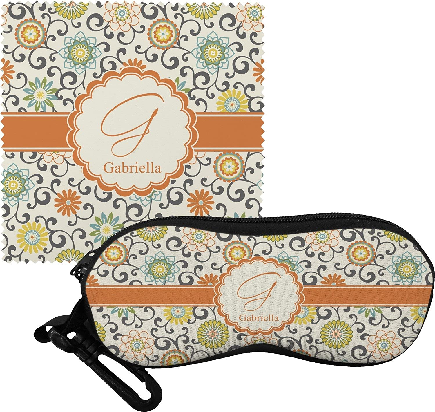 Swirls & Floral Eyeglass Case & Cloth (Personalized)