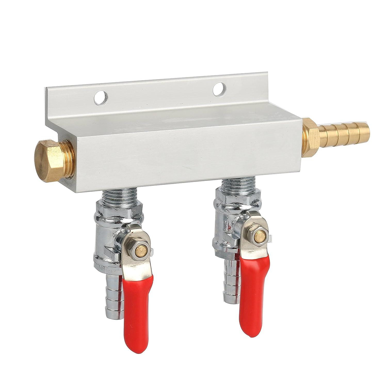 "YaeBrew Gas Manifold, Beer Gas Distributor, Air Distributor CO2 Manifold - Splitter 5/16"" Barb Fittings (2 Way)"