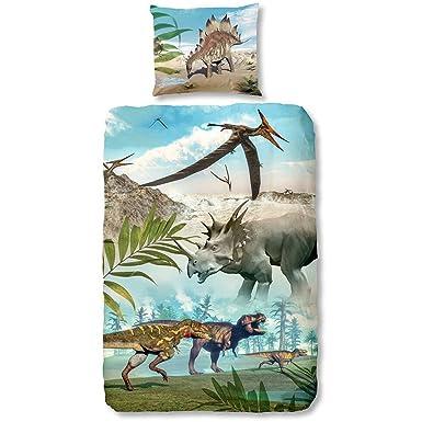 0adf91a047495 KIABI Parure de lit imprimée dinosaures bleu 140x200: Amazon.fr ...