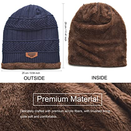 fd942d663cc ... Classic Men s Thick Warm Winter Fleece Lining Knit Beanie Hat Baggy  Oversize Slouchy Stocking Skull Cap ...