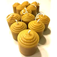 Beeswax Votive Candles - 12 Hour Each, 12 Pack, 144 Hours - 100% Pure USA Bees Wax - Unscented - All Natural Light Honey…
