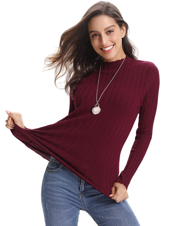 Abollria Womens Long Sleeve Solid Lightweight Soft Knit Mock Turtleneck  Sweater Tops Pullover AMN00056 a455068b9