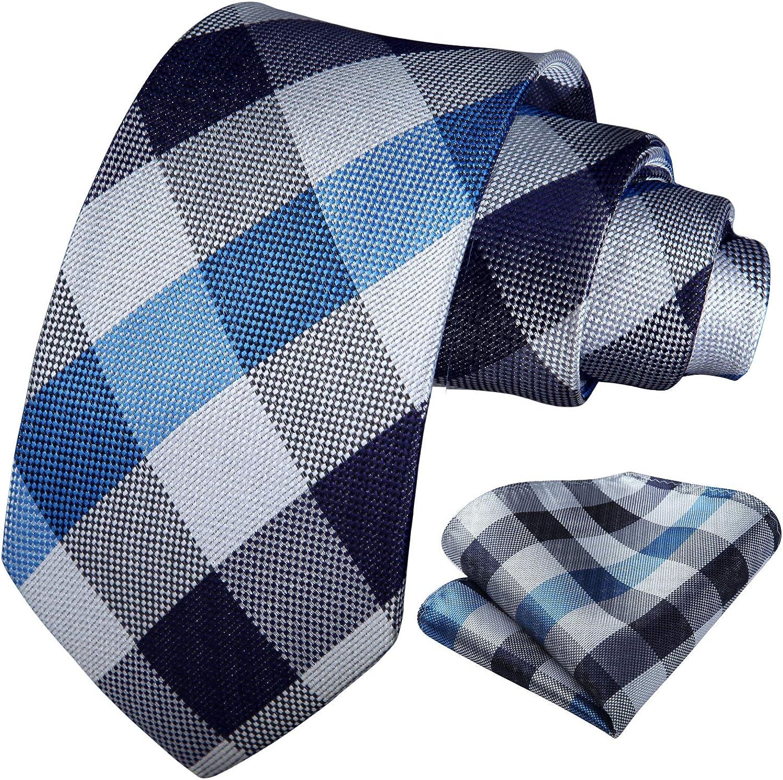 HISDERN Panuelo de corbata verde para hombre Conjunto clasico de corbata de boda y panuelo de bolsillo