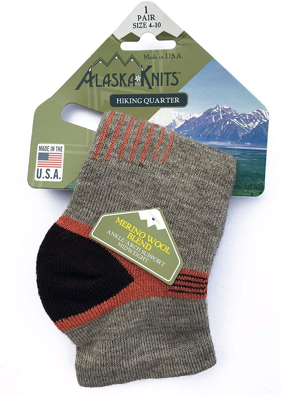 Alaska Knits Merino Wool Blend Hiker Crew Socks Size 4-10, 3Pr