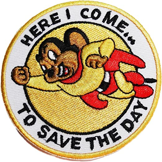 Mighty Mouse Television Show Character Flying Embroidered Iron On Patch