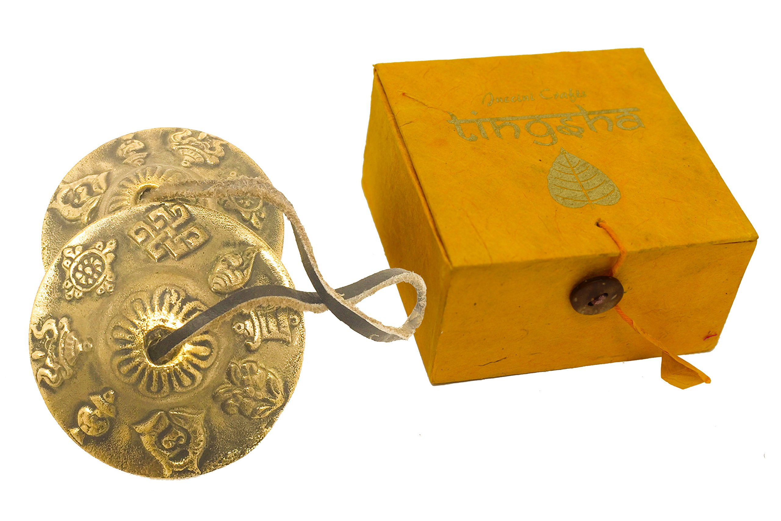 Tibetan Tingsha Cymbals ~ For Meditation & Yoga ~ Chimes With Clear Resonating Sound In Gift Box with Instructions To Play (Large, Auspicious Symbol)