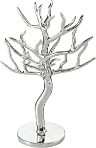 WHW Whole House Worlds Jewelry Tree Organizer, Silver Stand, Dresser Top, Vanity Display, Rings, Earrings Necklaces Holder, Rack Tower, 12.25 Inches