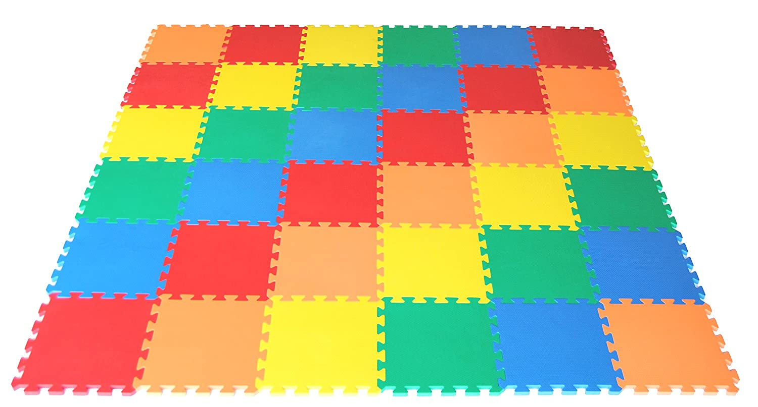 Wonder Mat Non-Toxic Non-Recycled Extra Thick Rainbow Foam Playmat American Creative Team Inc. CT-115