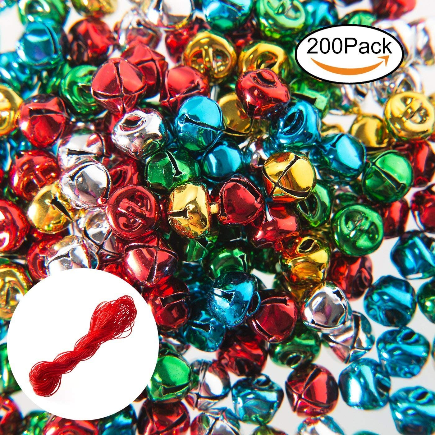200PCS Jingle Bells,Small Bell Mini Bells Bulk with 25M Red Cords for Christmas, Party & Festival Decorations and Jewelry Making, 10 mm Salar