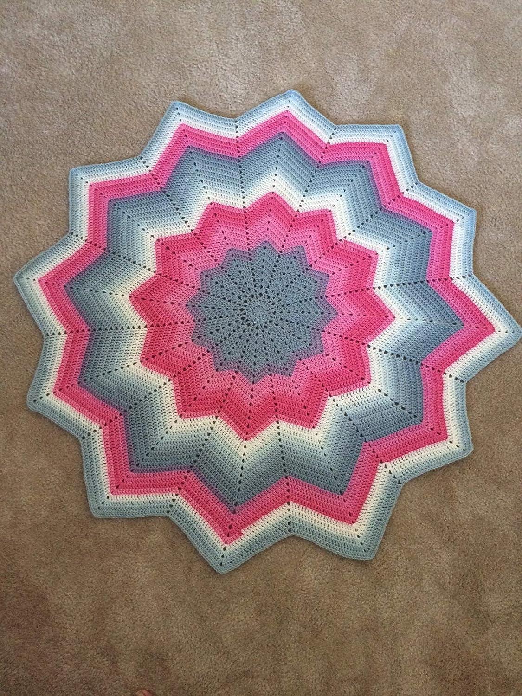 Amazon.com Hot Pink & Gray Ripple Star Baby Blanket   12