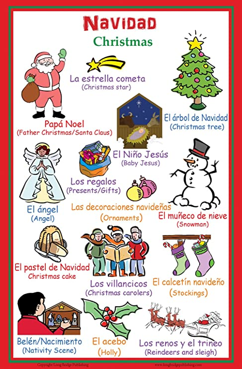 Christmas Spanish.Poster With Words About Christmas In Spanish With English Translation Bilingual Classroom Wall Decor 11x17 Inches