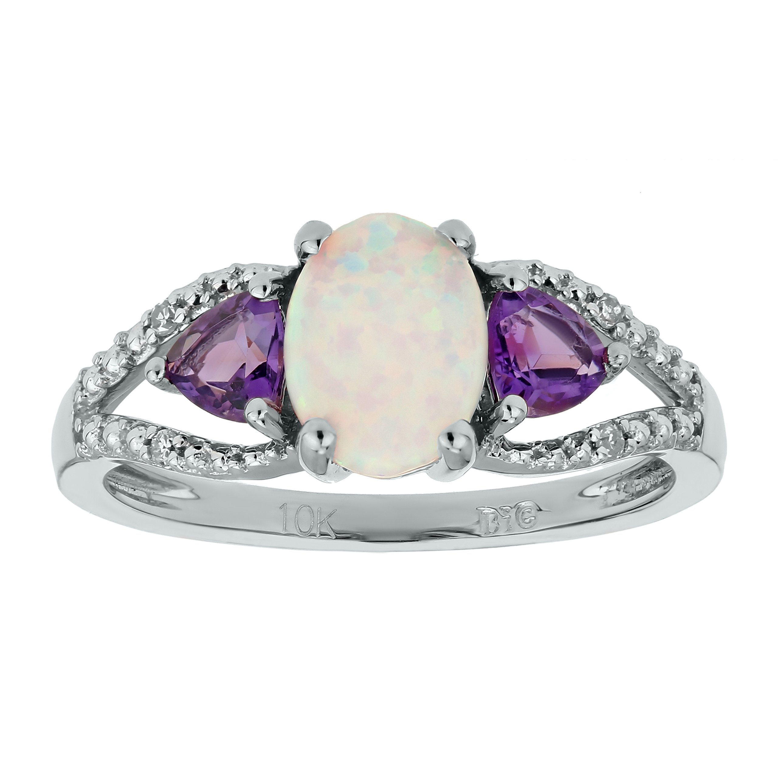 .70 Ct Oval White Opal .20 Ct Amethyst .01 cttw Diamond Silver Ring Size 7