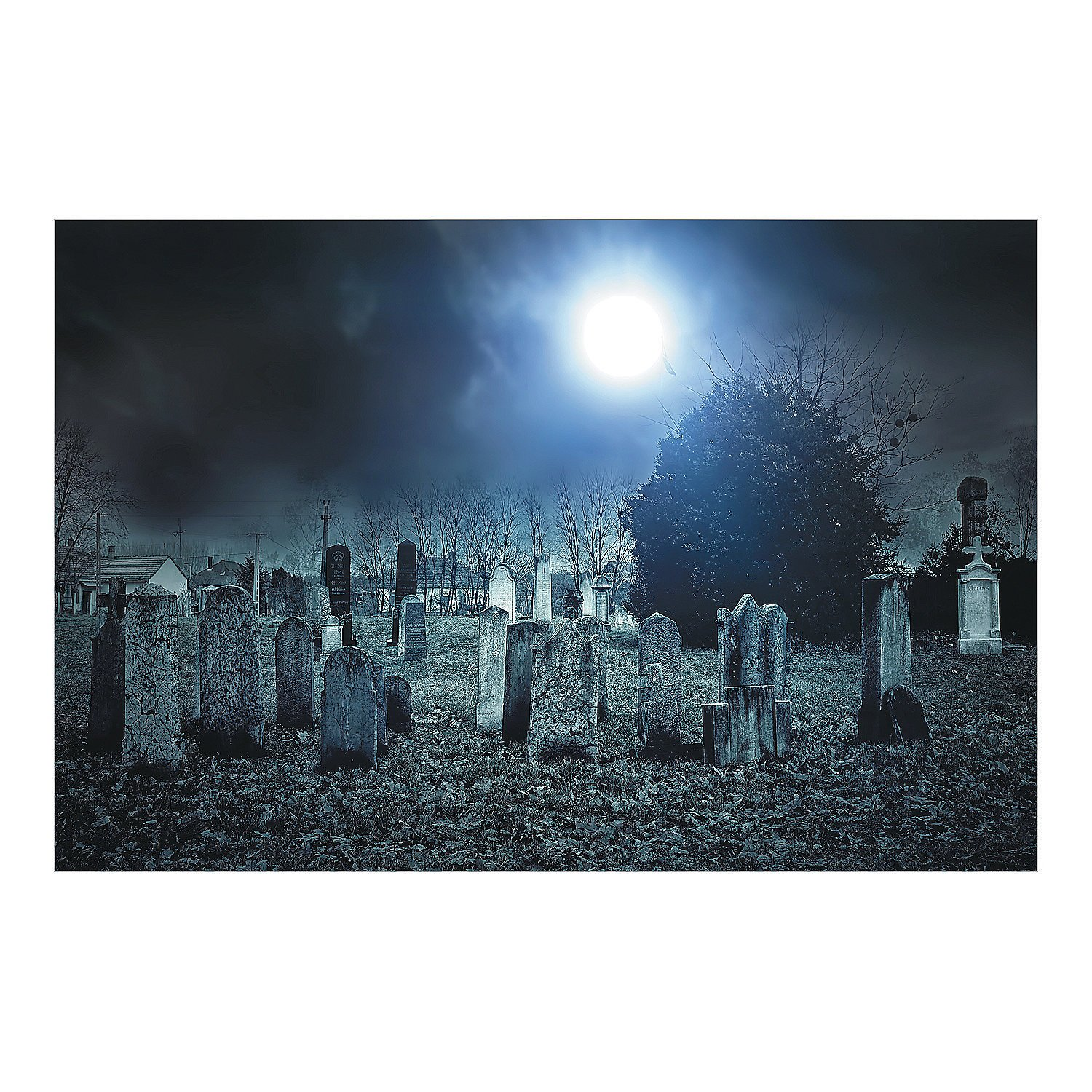 Halloween Party Decoration Prop Haunted Cemetery Backdrop Mural Banner
