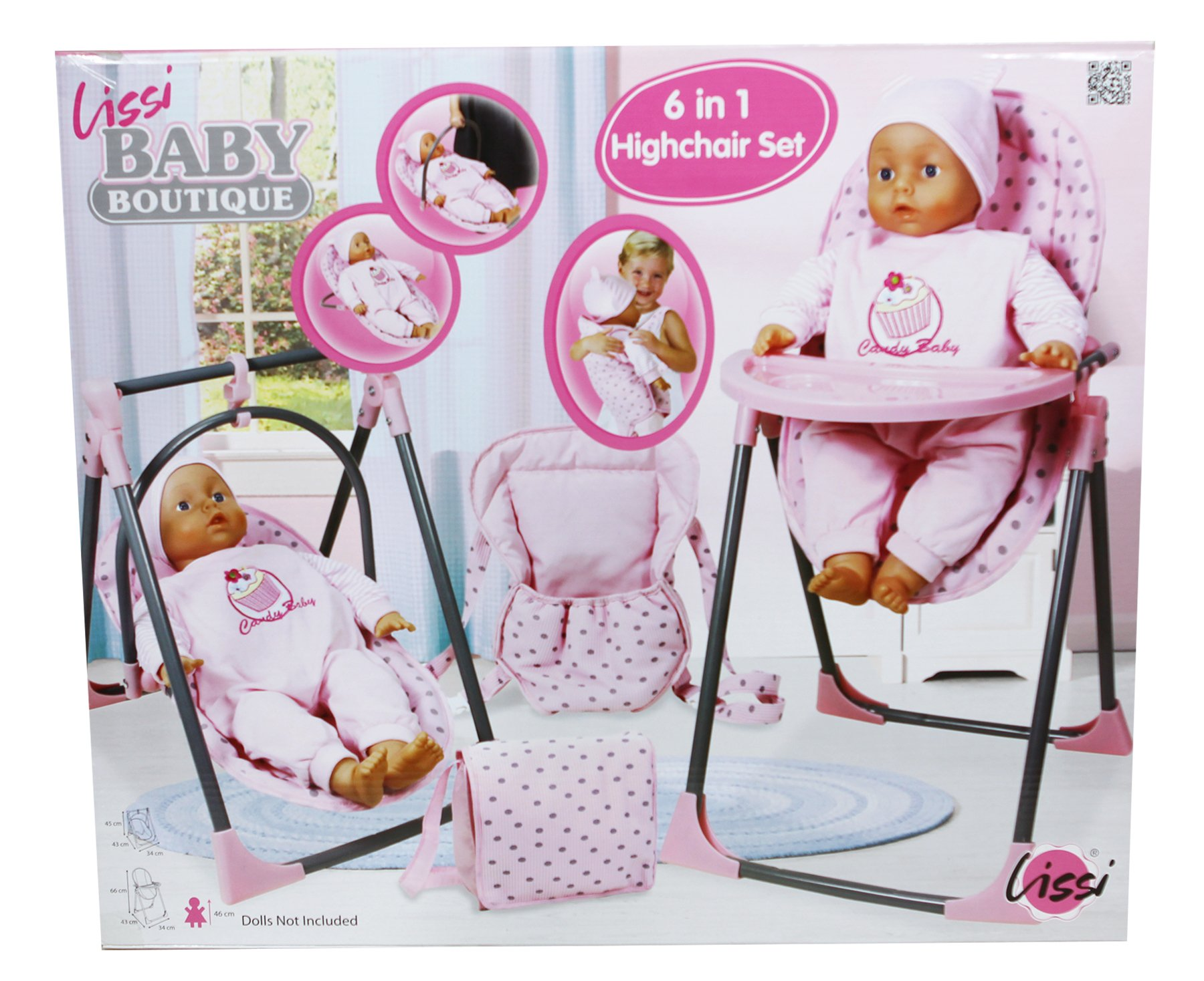Lissi Convertible Doll Highchair Play Set with