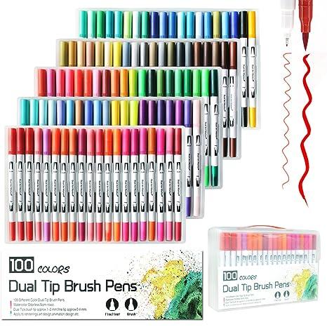 100 Pics Farben.Laconile 100 Farben Dual Aquarell Pinsel Stift Art Marker Mit 2 Mm Pinselspitze Und 0 4 Mm Feine Spitze Für Erwachsene Malbücher Manga Comic