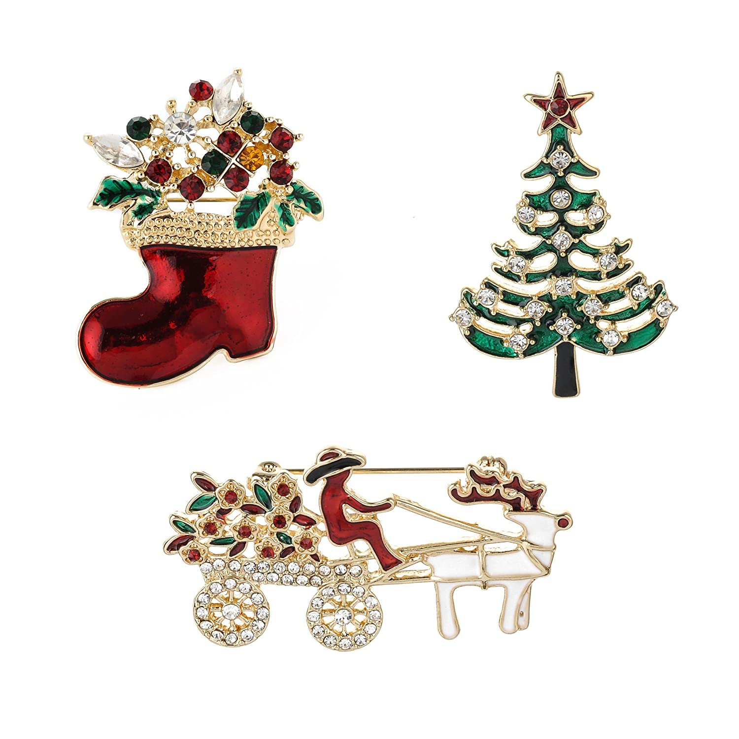 Amazon Com Ysd Jewelry Christmas Brooch Pins Set Holiday Brooch