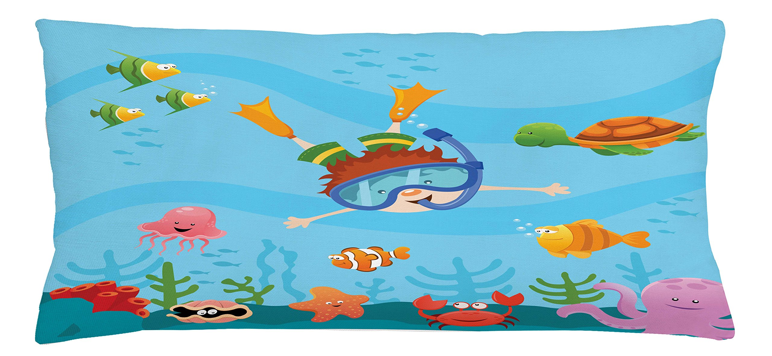 Ambesonne Kids Throw Pillow Cushion Cover, Cute Boy Diving and Exploring Subaquatic Happiness Seashell Summer Cartoon Characters, Decorative Square Accent Pillow Case, 36 X 16 Inches, Multicolor