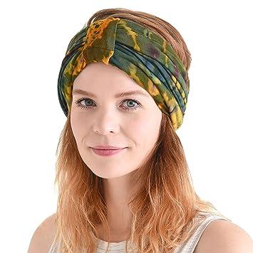 Casualbox Headband Boho Hair Band Summer Mens Womens Head Wrap Hippie Black