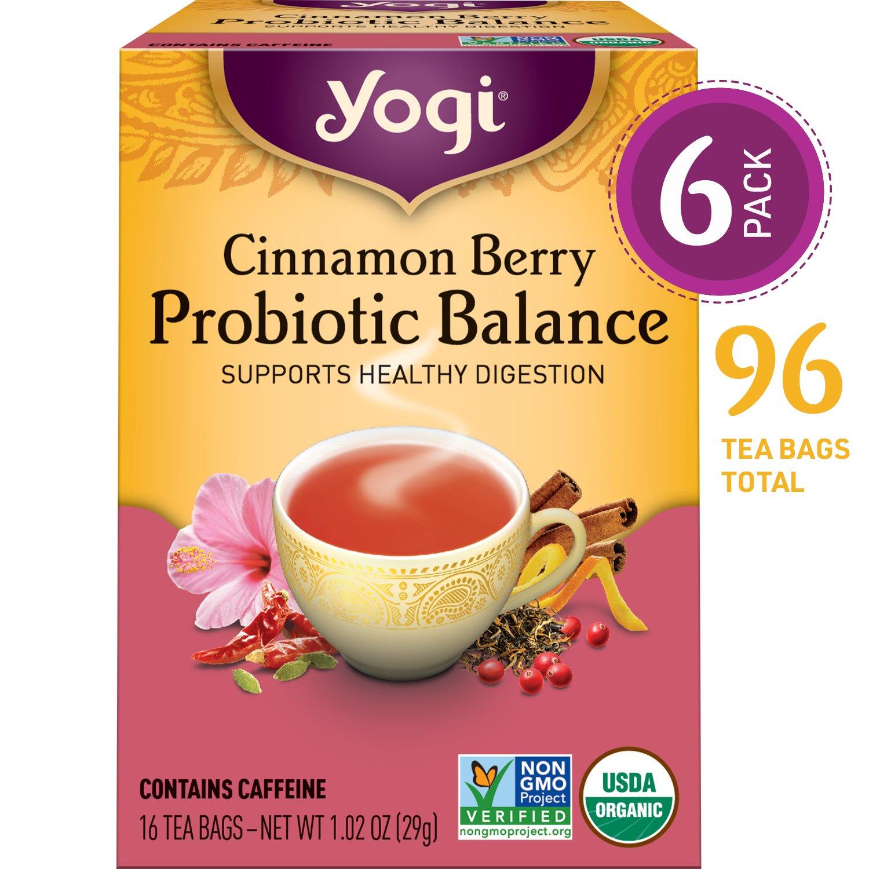Yogi Tea - Cinnamon Berry Probiotic Balance - Supports Healthy Digestion - 6 Pack, 96 Tea Bags Total