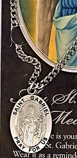 Pewter Medal and Stainless Steel Chain St Clare Medal Chain /& Prayer Card