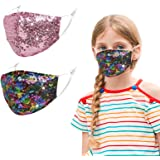 2 Pcs Kids Reusable Adjustable 3 Layer Face Mask with Nose Wire. Gifts for Girls Boys