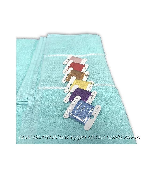 Tex Family - Juego toallas 100% algodón con tela Aida para bordar en Punto Cruz - 1 toalla de tocador + 1 de invitados – Color amarillo: Amazon.es: Hogar