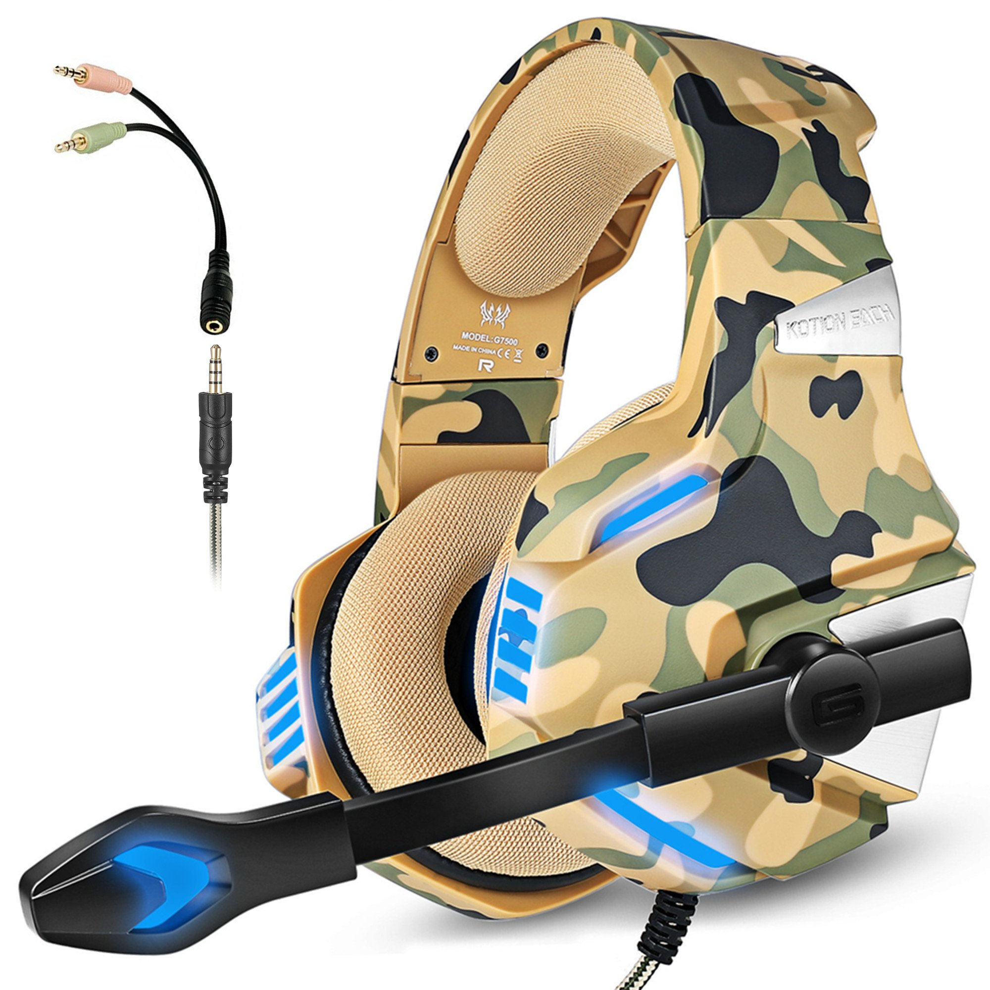 Gaming Headset with Mic for PS4 Xbox One Controller PC Nintendo Switch Tablet Smartphone, camouflage Stereo Over Ear Headphones Bass Surround Noise Canceling Microphone LED Light (ONE YEAR WARRANTY)