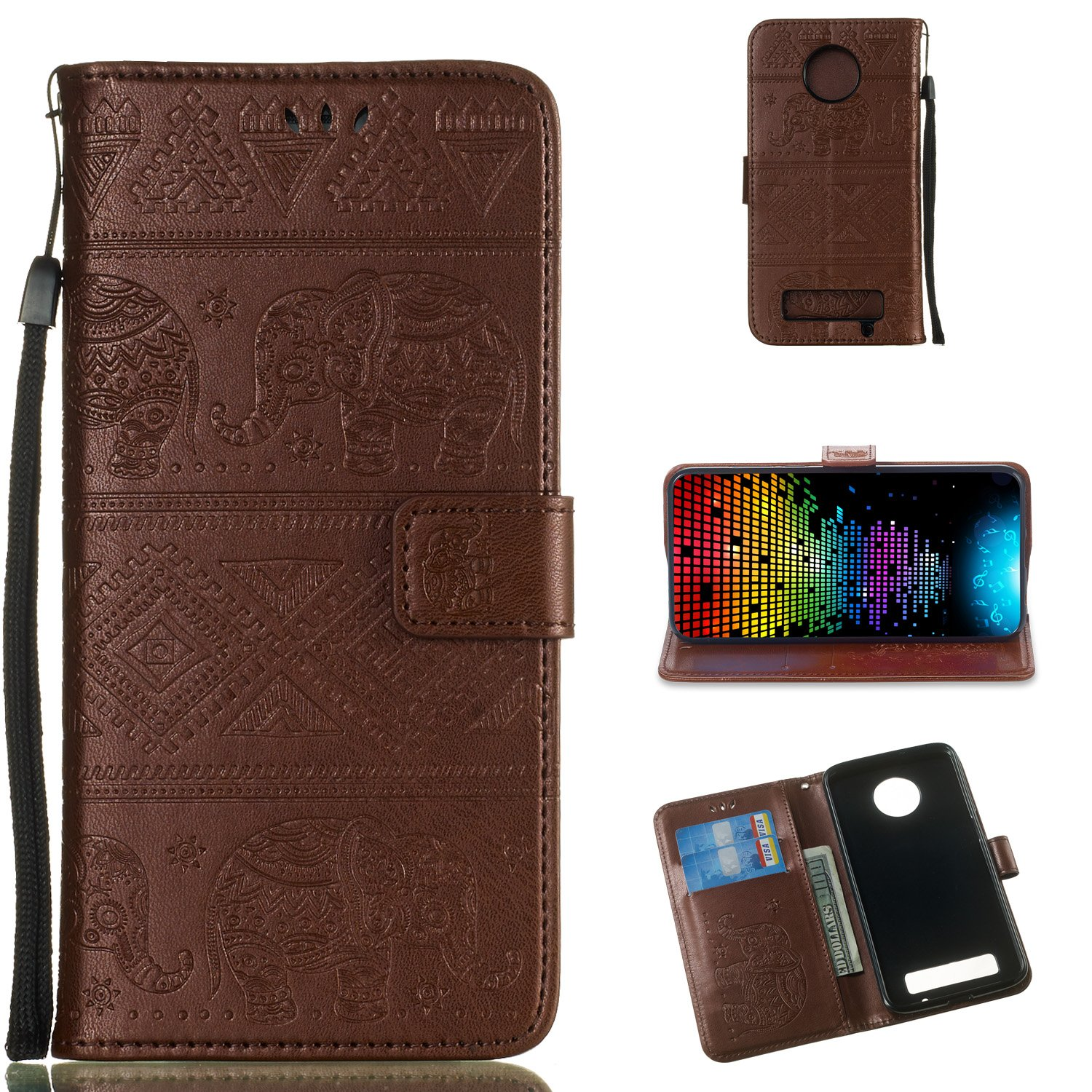 DAMONDY Moto Z3 Play Case, Elephant Embossed Flowers PU Leather Magnetic Flip Cover Stand Card Holders & Hand Strap Wallet Purse Case for Motorola Moto Z3 Play-brown