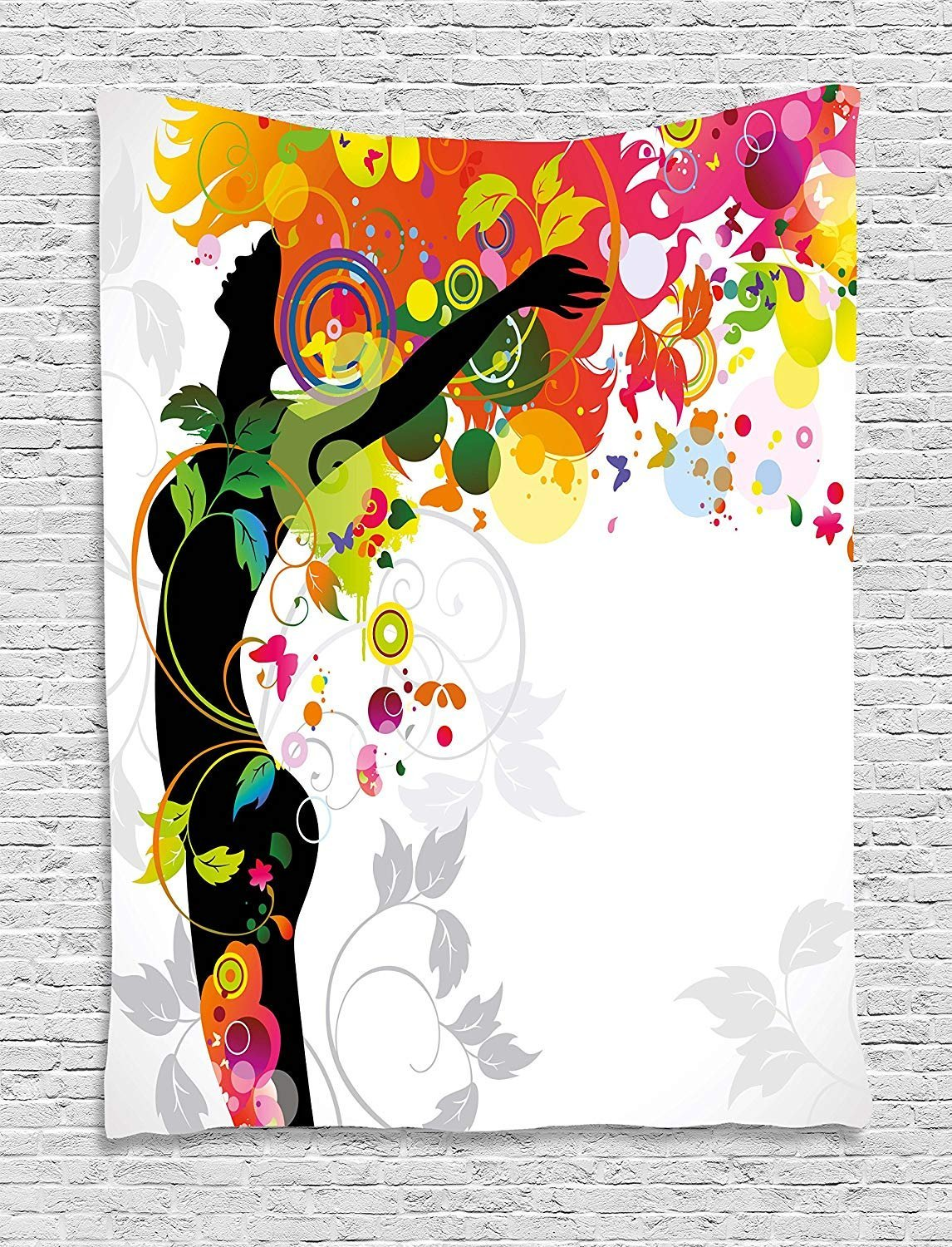 XHFITCLtd Colorful Tapestry, Woman Silhouette with Vibrant Colored Hair Abstract Freedom Expressing Image Print, Wall Hanging for Bedroom Living Room Dorm, 60 W X 80 L Inches, Multicolor by XHFITCLtd