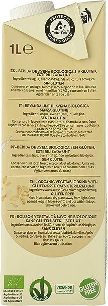 Vivibio Bebida de Avena BIO sin gluten - Vivibio - 1l (cja 6 uds - Total: 6 litros): Amazon.es: Alimentación y bebidas